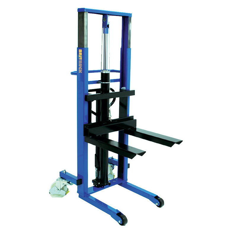 A large, blue electric pallet lifter.
