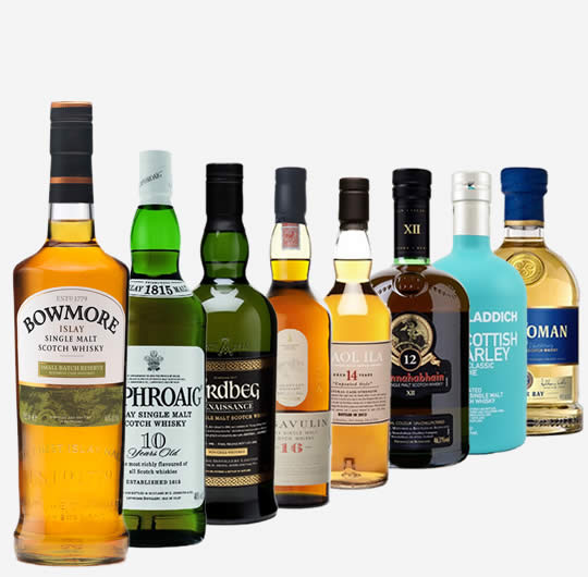 Various bottles of rare whiskies from Islay.