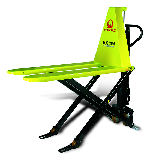A small, neon yellow pallet lifter.